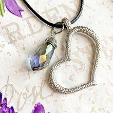 Náhrdelníky - Faceted Briolette & Heart Necklace / Prívesky 2 v 1 brúsená brioletka a srdce #1437 - 10341131_
