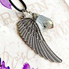 Náhrdelníky - Faceted Briolette & Angelwing Necklace / Prívesky 2 v 1 brúsená brioletka a anjelské krídlo #1437 - 10341146_