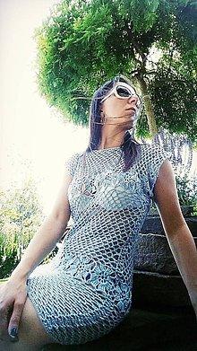 Šaty - Háčkované šaty bledomodré - 10343728_