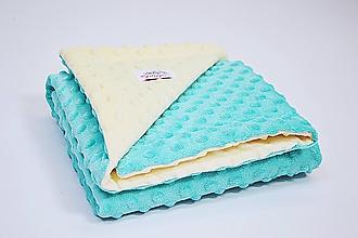 Textil - Minky deka vanilla/mint 70*70cm - 10340046_