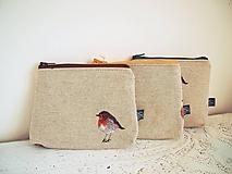 Taštičky - Kozmetické taštičky malé režné - vtáčik - 10342306_
