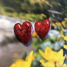 Náušnice - Červené srdcušky - 10341859_