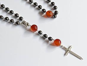 Iné šperky - RŮŽENEC - HEMATIT - KARNEOL - 10343180_