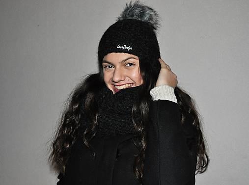 76e529fefc45 Čierna čiapka z alpaky   LanaDesign - SAShE.sk - Handmade Čiapky