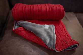 """Textil - Detská deka """"Vrkoč"""", OEKO-TEX® - Červená/Sivá podšívka - 10341518_"""