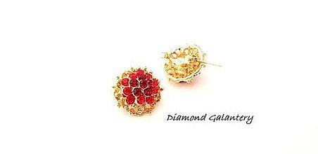 Galantéria - Brošňa ozdobná -20 mm- červeno zlatá - 10342431_