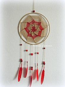 Dekorácie - Lapač snov - zlato červený - 10341097_