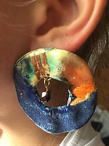 Náušnice - farebné kruhy /keramika/ - 10343214_