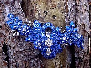 Ozdoby do vlasov - čipková sponka do vlasov - kráľovská modrá + strieborná - 10340734_