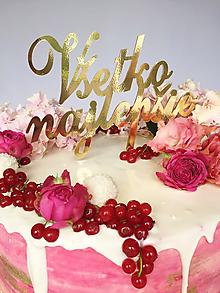 Dekorácie - Všetko najlepšie na tortu (výška 10cm,šírka 15cm - Strieborná) - 10339816_