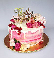 Dekorácie - Všetko najlepšie na tortu (výška 10cm,šírka 15cm - Biela) - 10339817_