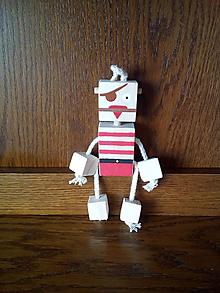 Hračky - Drevený robot - pirát - 10343167_
