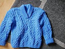 Detské oblečenie - modrý pletený pulóvrik, - 10342706_