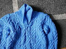 Detské oblečenie - modrý pletený pulóvrik, - 10342712_
