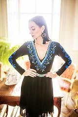 Šaty - Čierne plisované šaty Slavianka - 10343293_