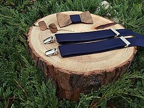 Doplnky - Pánsky drevený motýlik, manžetové gombíky a traky - 10341170_