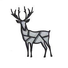Odznaky/Brošne - Jeleň silver/black - 10342019_