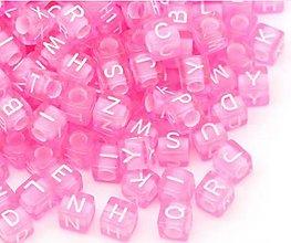 Korálky - KP102 Korálka plastová písmenko ružové 6 mm - 10343114_