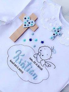 Detské oblečenie - Košieľka na krst a krížik na stenu v modrej farbe - RUČNE VYŠÍVANÁ - 10340409_