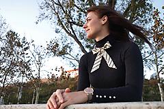 Náhrdelníky - Mašľa viazacia béžovo-čierna - 10342486_