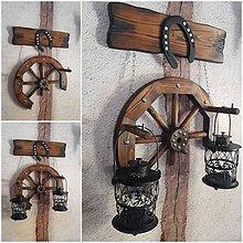 Svietidlá a sviečky - Drevené koleso podkova dekorácia - 10339888_