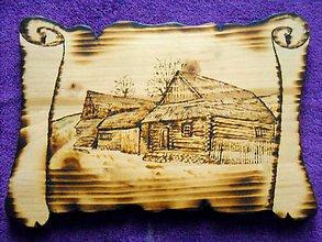 Obrázky - Drevený vypaľovaný obraz - Drevenice z okolia Kežmarku - 10340454_
