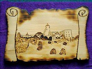 Obrázky - Drevený vypaľovaný obraz - Hrad Stará Ľubovňa - 10340487_