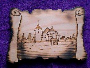 Obrázky - Drevený vypaľovaný obraz - Kostolík v Pribyline - 10340514_