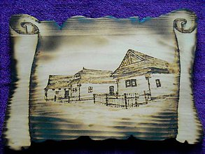 Obrázky - Drevený vypaľovaný obraz - Drevenice z Pribyliny - 10340922_
