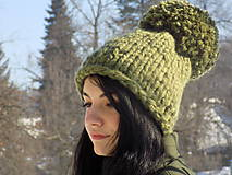 Čiapky - čiapka pletená ..olivovo zelená - 10341041_