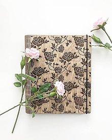 Papiernictvo - Drevený zápisník s motivom ruže - 10343247_