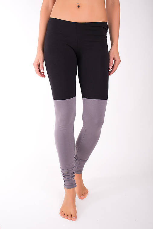 Nohavice - DOUBLE LONG LEG... grey/black - 10343165_