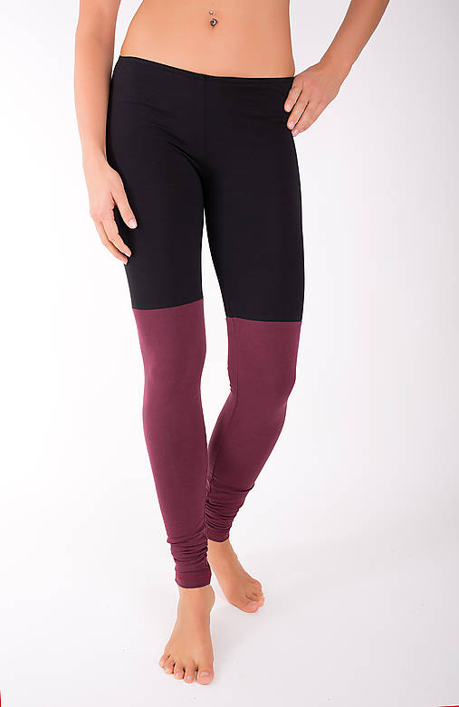 Nohavice - DOUBLE LONG LEG... burgundy/black - 10343378_
