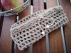 Úžitkový textil - Háčkované EKO nákupné vrecko na ovocie a zeleninu - stredné (hnedé) - 10343801_
