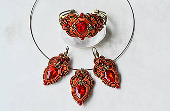 Sady šperkov - Sada Scent of India - náušnice, náramok a prívesok (Červená) - 10340202_