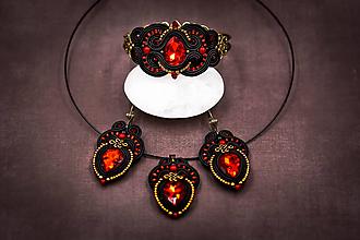 Sady šperkov - Sada Scent of India - náušnice, náramok a prívesok (Čierno-červená) - 10340210_