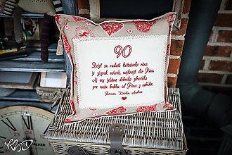 """Úžitkový textil - Vankúšik k životnému jubileu """"90"""" rokov - 10347323_"""