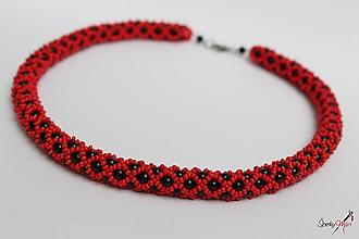 Náhrdelníky - náhrdelník čierno-červený - 10346771_