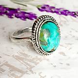 Prstene - Filigree Oval Turquoise Ring / Vintage prsteň s pravým tyrkysom #1477 - 10347229_