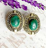 Náušnice - Antique Malachite Stud Earrings / Náušnice s malachitom v starozlatom prevedení #1478 - 10347236_