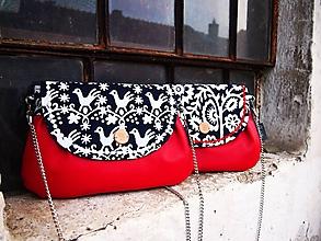 Kabelky - Červená kabelka z pravej modrotlače I - 10344448_