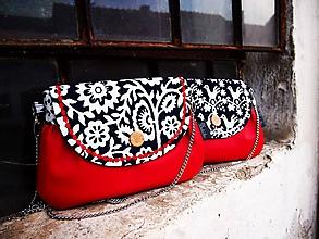 Kabelky - Červená kabelka z pravej modrotlače II - 10345246_