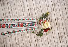 """Ozdoby do vlasov - Set ľudová spona s hrebienkom z kolekcie """"Na ľudovú nôtu"""" Biela varianta - 10344683_"""