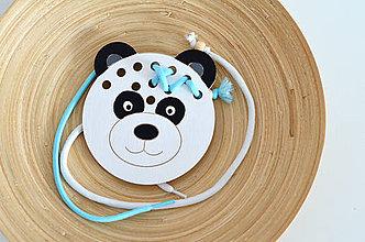 Hračky - Drevený medvedík - prevliekacia hračka (Panda) - 10347015_