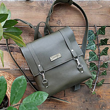 Batohy - Kožený batoh Ruby (army zelený) - 10346019_