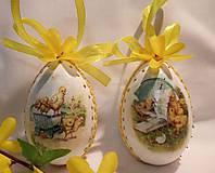 Dekorácie - Sada veľkonočných kraslíc s kuriatkami - v žltom - 10345813_