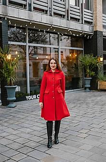 Kabáty - Vlnený kabát princess strihu SEVERANKA-červený - 10348015_