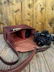Iné tašky - F11 - brašňa na foťák v hnedo bordovej - 10343949_