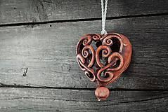 Dekorácie - Vyřezávané srdce patina železo - 10346926_