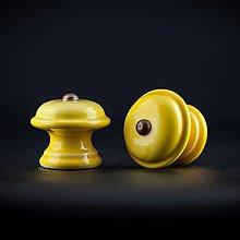 Nábytok - Úchytka - knopka žlutá - vzor č. 3 střední - 10345525_